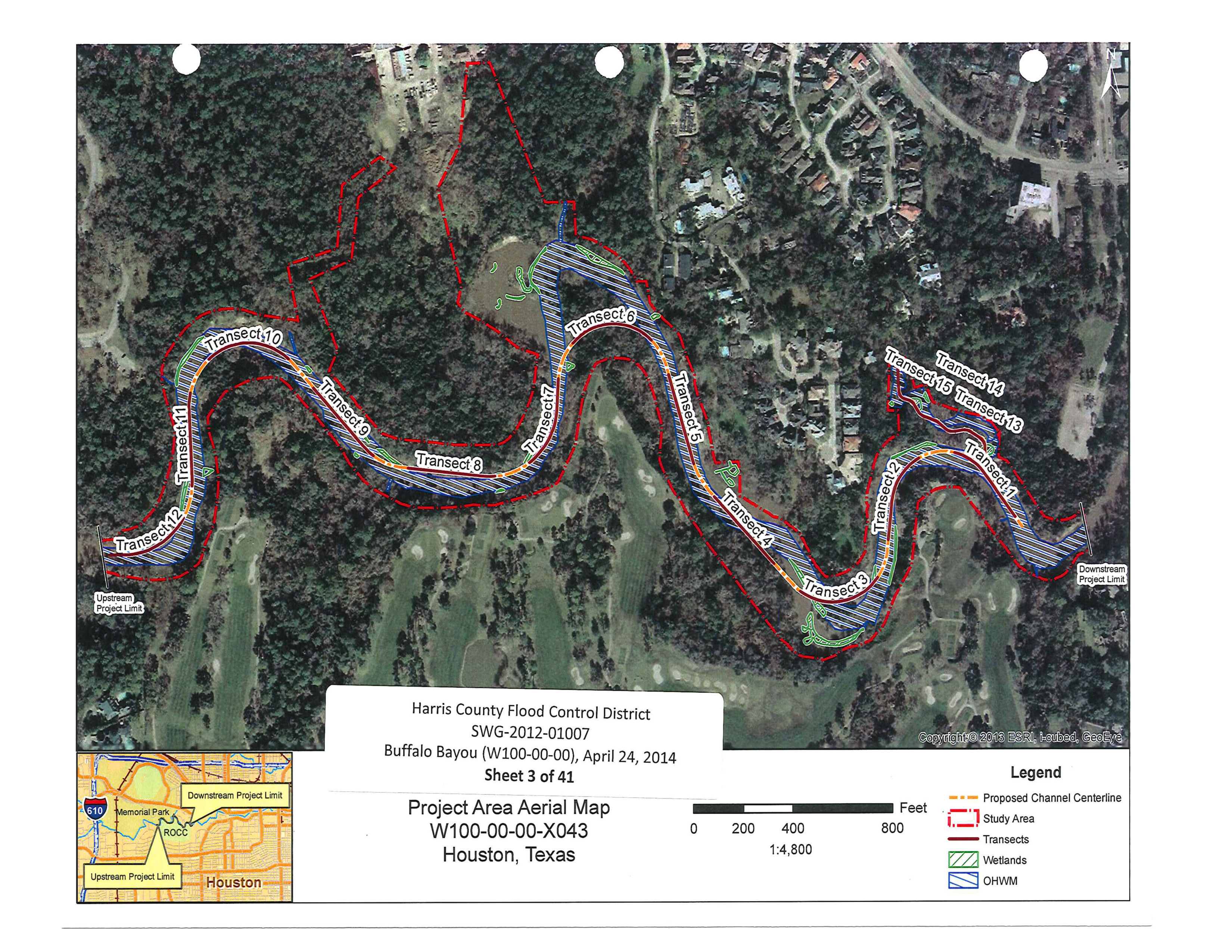 Map 1: The dotted red lines show the 14.35 acres of riparian forest to be scraped and bulldozed. According to the HCFCD, 80 percent of the vegetation in the targeted area will be removed. Note the areas to be cleared of trees extends into the interior of Memorial Park towards the maintenance facility. This is for access by heavy equipment to the bayou. Also note the land and forest to be lost by the River Oaks Country Club on the south, and the destruction of a scenic tributary and a magnificent high bluff in the Hogg Bird Sanctuary on the north.