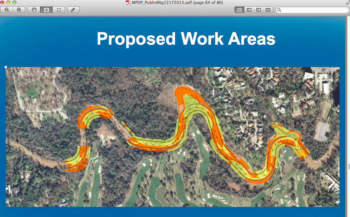 Map 2: Areas of the natural banks of Buffalo Bayou to be excavated and filled. Yellow is excavate. Orange is fill.