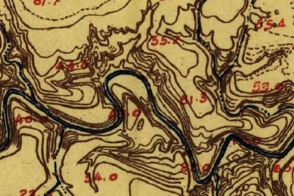 1915 USGS topographic map of Buffalo Bayou in the area to be bulldozed by a project supported by the Memorial Park Conservancy and the Bayou Preservation Association.
