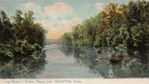 A postcard painted in 1908 of Long Reach, Buffalo Bayou, flowing past Magnolia Park near the Houston Ship Channel.