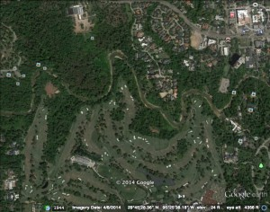 Google Earth image of the project area April 2014. Note the loss of forest on the south bank from enlargement of the golf course.