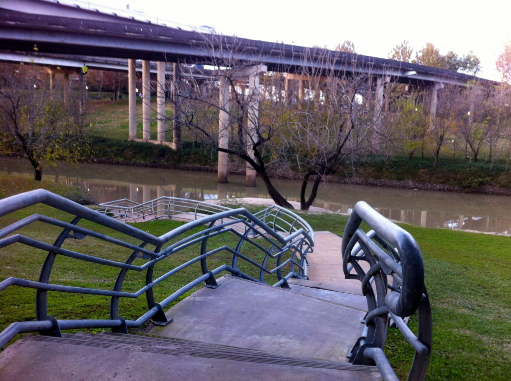 The City of Houston boat launch on the south bank of the Sabine Promenade in Buffalo Bayou Park. Not accessible to anyone with a boat. Photo January 26, 2015, by Susan Chadwick
