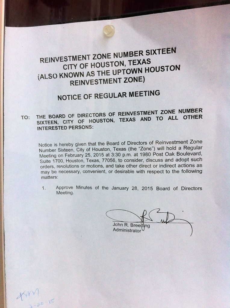 Notice of TIRZ 16/Uptown Development Authority board meeting posted on City Hall bulletin board.