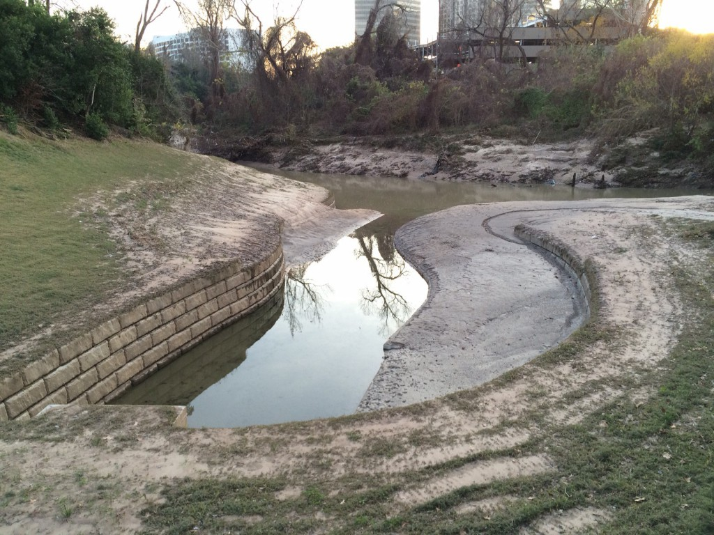 The drainage outfall but not a boat launch covered with mud in Memorial Park at Woodway. Photo by Bill Heins on February 16, 2015.