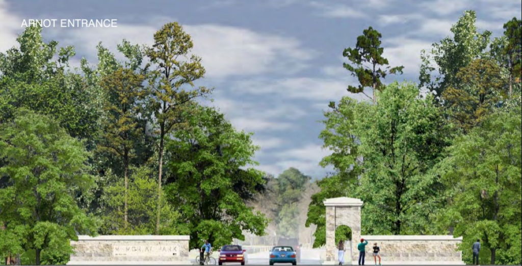 Central Texas limestone entryway proposed for Houston's Memorial Park. Image from Memorial Park Conservancy.