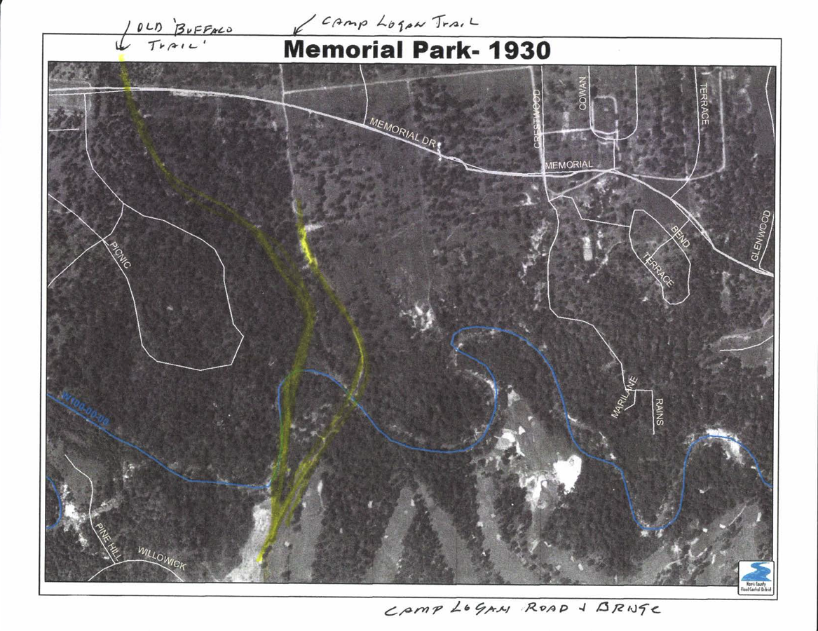 Aerial photo from1930 of project area showing sandstone crossing known as the Buffalo Trail.