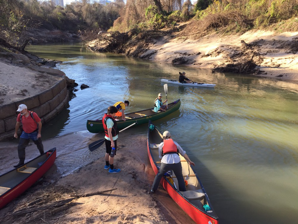 Boy scouts and guides putting in at the Memorial Park Woodway boat launch Saturday, Jan. 30, 2016
