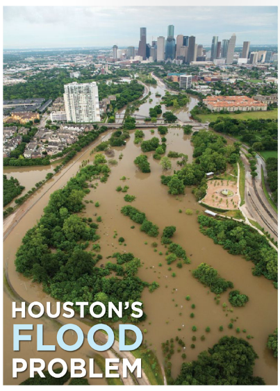 Photograph of flooding Buffalo Bayou in Houston between Allen Parkway and Memorial Drive on April 18, 2016. Photo taken for Gulf Coast Mariner magazine by Jim Olive.