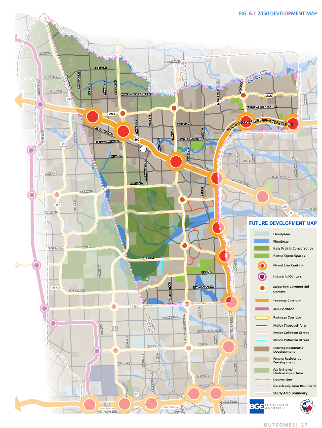 Proposed future development map of roads crisscrossing the Katy Prairie Preserve. Map from page 27 of the Harris County Engineering Dept. US 290 Area Major Thoroughfare Study.