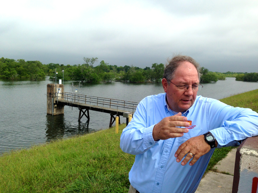 Richard Long, supervisory natural resources manager for the Galveston District of the US Army Corps of Engineers, standing on Barker Dam, May 17, 2016.