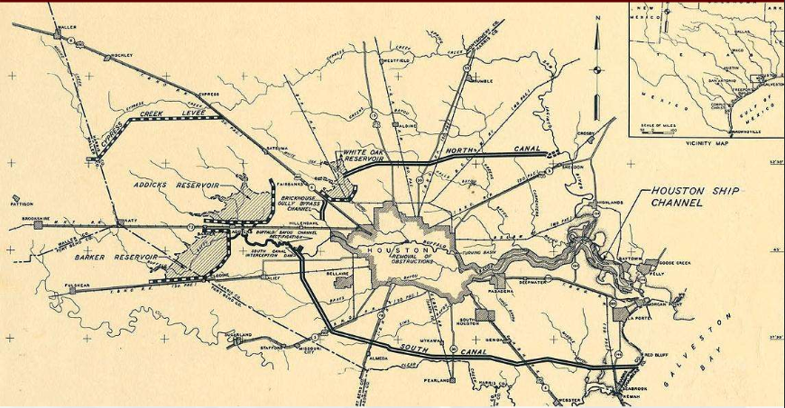 The 1940 flood control plan for dams, levees, and canals in Houston. Image courtesy of US Army Corps of Engineers