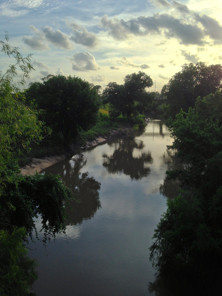 View of Buffalo Bayou looking upstream from the Waugh Bridge. Photo by Anonymous, June 13, 2016