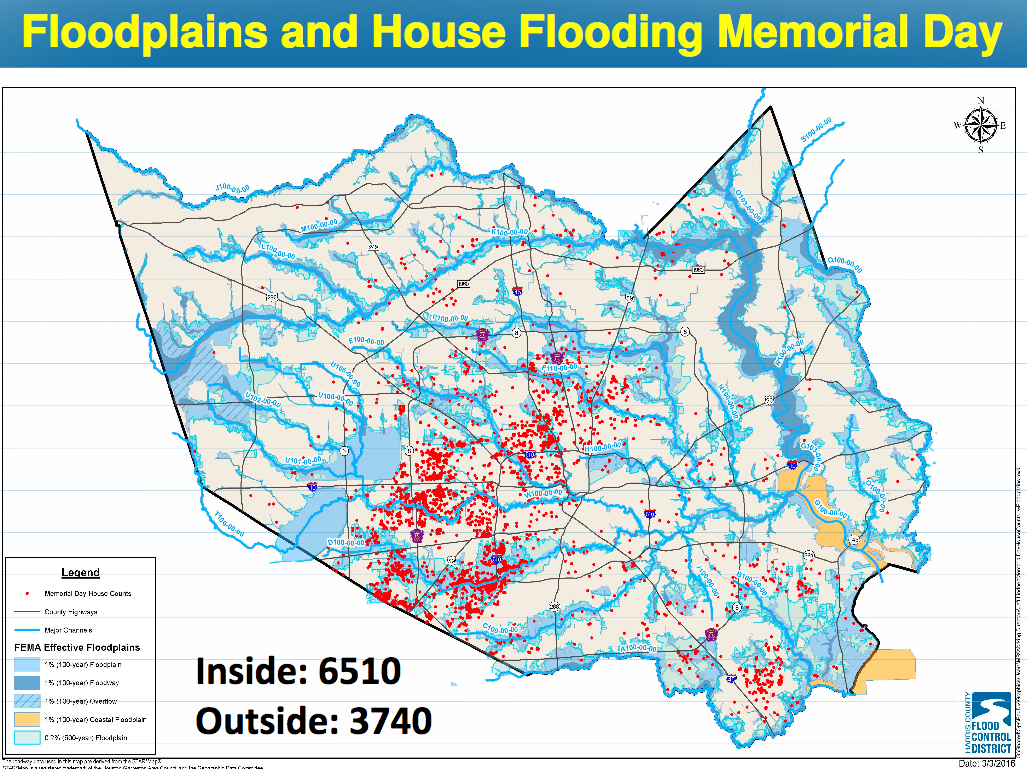 Red dots are Memorial Day house counts. Blue areas are floodplains. Orange is coastal floodplain.