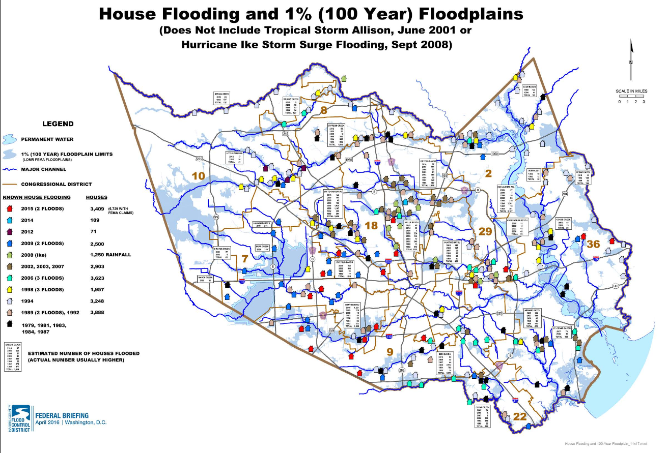 House flooding in Harris County during major storms since 1979, not including Tropical Storm Allison in 2001 or Hurricane Ike in 2008. Actual figures could be higher. Image from the Harris County Flood Control District federal briefing on Project Brays, April 2016.