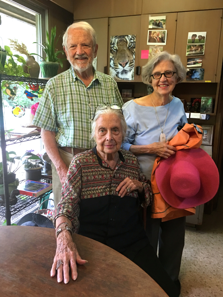 Frank Smith Jr. and Avon Smith Duson with Terry Hershey, seated, at Hershey's home in August 2016.
