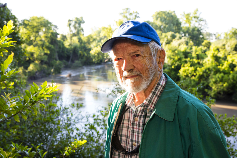 Frank C. Smith Jr., founding president of the board, Save Buffalo Bayou, in Memorial Park on a high bank above Buffalo Bayou. Photo taken May 5, 2016, by Jim Olive.