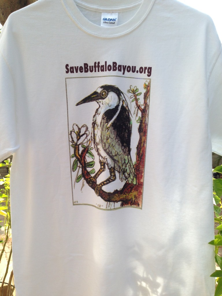 Save Buffalo Bayou t-shirt with yellow-crowned night heron by Frank X. Tolbert 2.