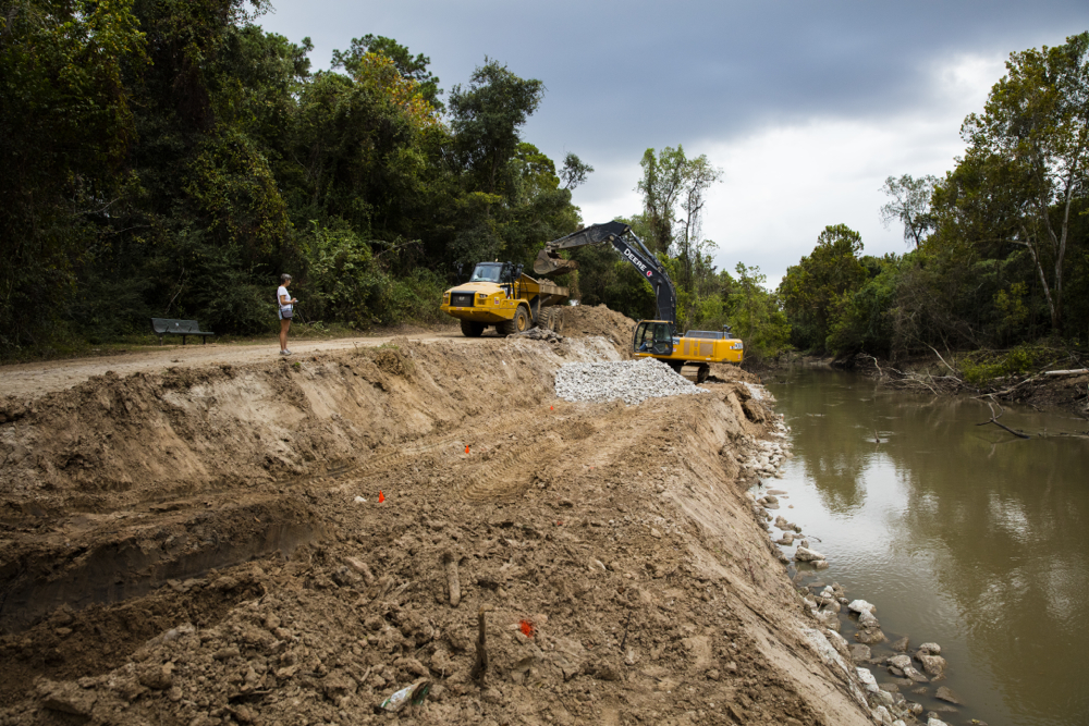 Dump truck and excavator at work on the north bank of Buffalo Bayou in Terry Hershey Park on Nov. 3, 2016. Photo by Jim Olive