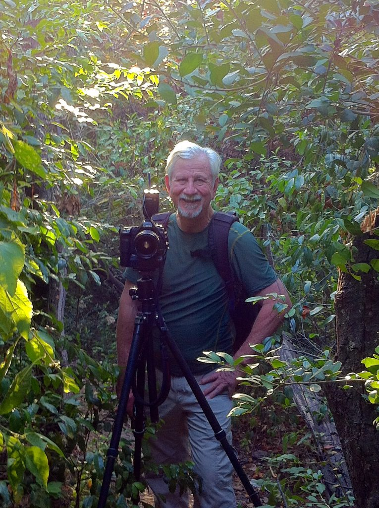 Jim Olive at work in the riparian woods of Buffalo Bayou in Memorial Park. Photo by Susan Chadwick, Aug. 1, 2015